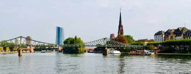 frankfurt germany main river bridge view