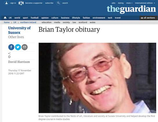 Why did the Guardian take down the sociologist Brian Taylor's online obituary?
