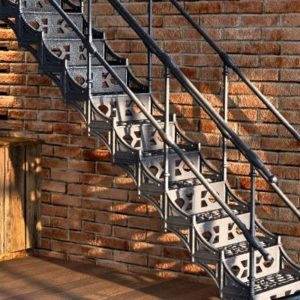 Lille French Cast Iron Spiral Stairs | Cast Iron Straight Staircase | Raw Iron | Dark Stain | Handle | Luxury | Spindle