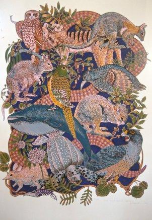 "L Annie Franklin ""our endangered species"" screenprint 100 x 70 cm"