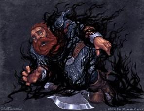 Dwarf in black flames