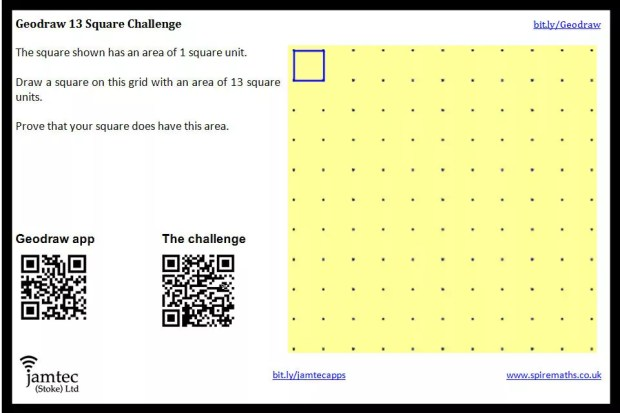 GeoDraw Challenge: Make a square with area 13