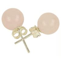 Boucles d'oreilles quartz rose clous argent 925