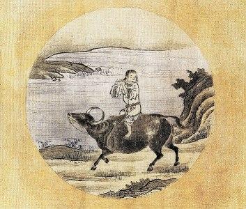 Kuòān Shīyuǎn's Ten Bulls 6: Riding the Bull Home