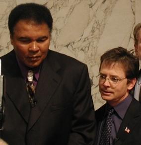 Muhammad Ali and Michael J. Fox