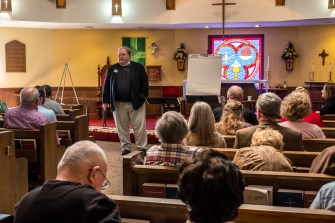 Canon Steve getting the ball rolling. St. James' Springfield. February 19, 2017 Image credit: Gary Allman
