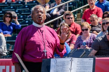 Presiding Bishop Michael Curry preaching at Hammons Field, Springfield. Sunday May 7, 2017. Image credit: Gary Allman