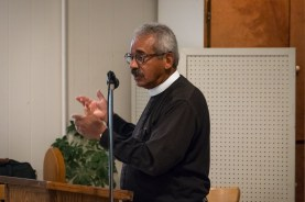 "The Rev. Dr. Louis ""Smokey"" Oats, Saint Francis Community Services addresses the Human Trafficking Workshop. Image credit: Gary Allman"