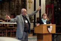 Fr. Ted Estes and Amanda Perschall give the report from the Metrics Team. Special Convention of The Diocese of West Missouri, June 3, 2017 at Grace and Holy Trinity Cathedral. Image credit: Gary Allman