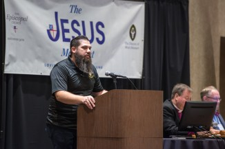 Youth Network Coordinator Josh Trader addresses the Diocesan Convention Image credit: Gary Zumwalt