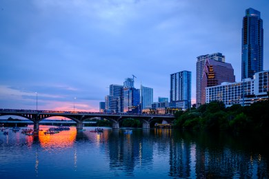Sunset on the Colorado River, Austin, Texas Image: Gary Allman