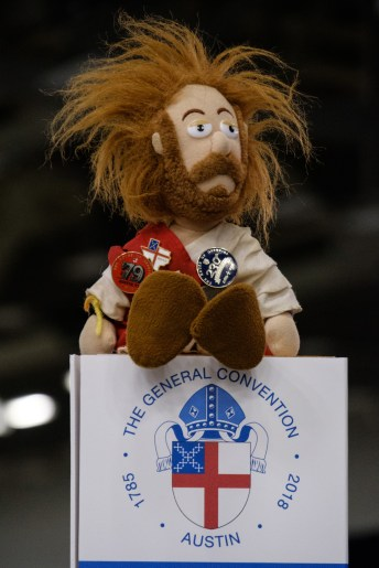 For the duration of the convention WEMO Jesus lives on top of our diocesan sign. Image: Gary Allman