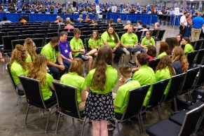 The WEMO Youth and Bishop Marty discussing Care of Creation. Image: Gary Allman