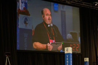Fr. Jonathan Frazier Addresses the House of Deputies. Image: Gary Allman