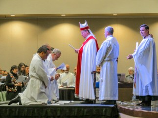 Friday, November 2. Ordination to the diaconate of Bradley Heuett, Jeff Hurst, Chandler Jackson, Sean Kim and, Marco Serrano at the opening Eucharist of the 129th Convention of The Diocese of West Missouri. Image: Donna Field