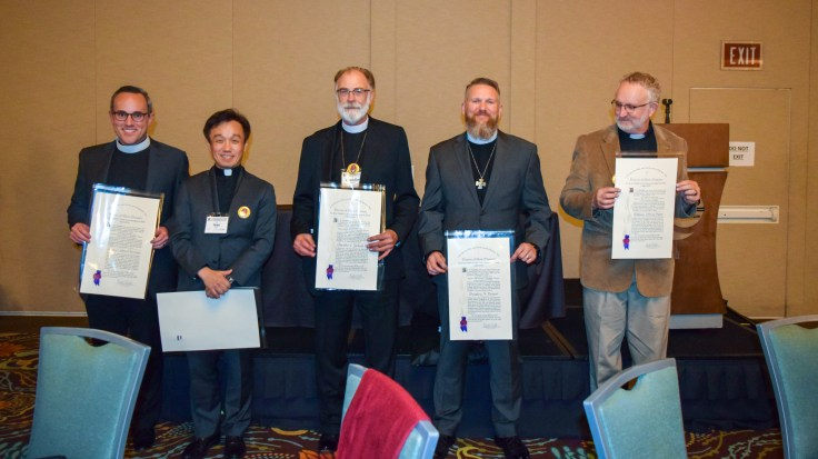 (L-R) The Rev. Marco Serrano, the Rev. Sean Kim,., the Rev. Chandler Jackson, the Rev. Bradley Heuett, and the Rev Jeff Hurst. Image: Donna Field