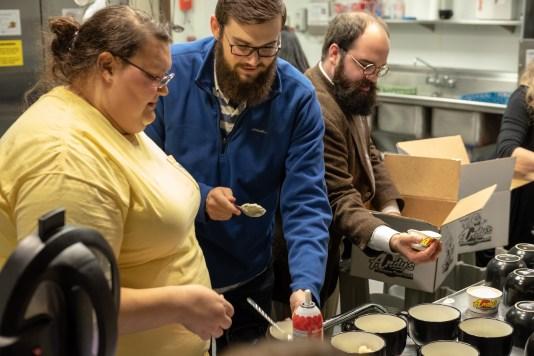 Meredith Seaton, Collin Larimore and Joe Pierjok. Serving up some Andies. Image: Gary Allman