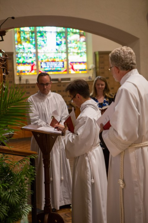 On Saturday May 11, 2019, St. Andrew's Episcopal Church, Kansas City hosted the Ordinations to the Sacred Order of Priests of the Rev. William Jeffrey Hurst, the Rev. Dr. Sean Kim, and the Rev. Marco Serrano. Image credit: Mary Ann Teschan