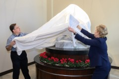 Unveiling the sculpture. Image credit: Dean Shepard