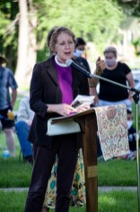 The Rt. Rev. Cathleen Bascom, the Episcopal Diocese of Kansas at the Prayer for Racial Justice event, June 3, 2020. Image credit: Mary Ann Teschan