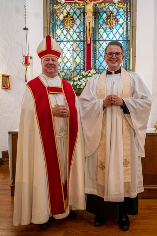Bishop Marty and Fr. Isaac Petty, Vicar of St. Luke's Episcopal Church, Excelsior Springs, Missouri. Image credit: Gary Allman