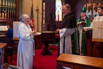 Presentation of the oil. The Installation of the Rev. James Harris as Priest in Charge, All Saints' Episcopal Church, West Plains, Missouri. Image credit: Gary Allman