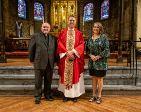 Fr Ryan, Fr. Jonathan and Ann Frazier - Ordination of Ryan David Wiksell to the Sacred Order of Priests at Grace and Holy Trinity Cathedral, Kansas City, Missouri. October 2, 2021. Image credit: Gary Allman