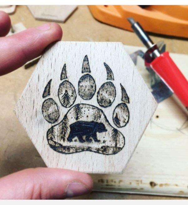 Bear paw fridge magnet