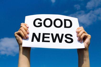 "A sign saying ""Good News."""