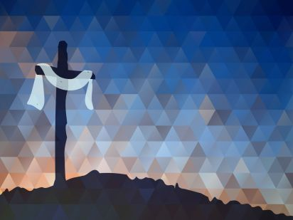 A drawing of a dark cross at dawn with a white cloth. The resurrection is a cause for joy.