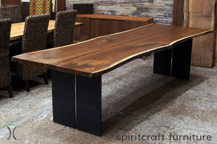 Live edge slab dining tables  Walnut slabs and tops Live edge Chicago area Walnut dining table with steel legs  Features  book matched Black