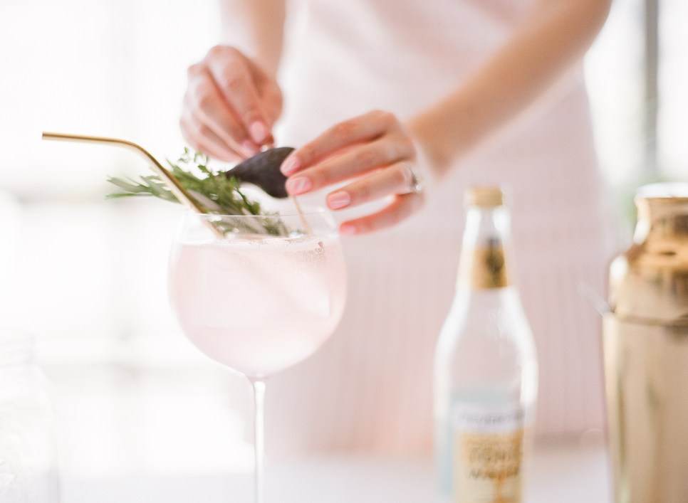Late-Summer Fig Gin and Tonic, recipe from @spiritedLA, photography by Cat's Lens Photography
