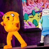 Adventure Time, Finn the dog and Jake the human - Cartoon Network characters on stage