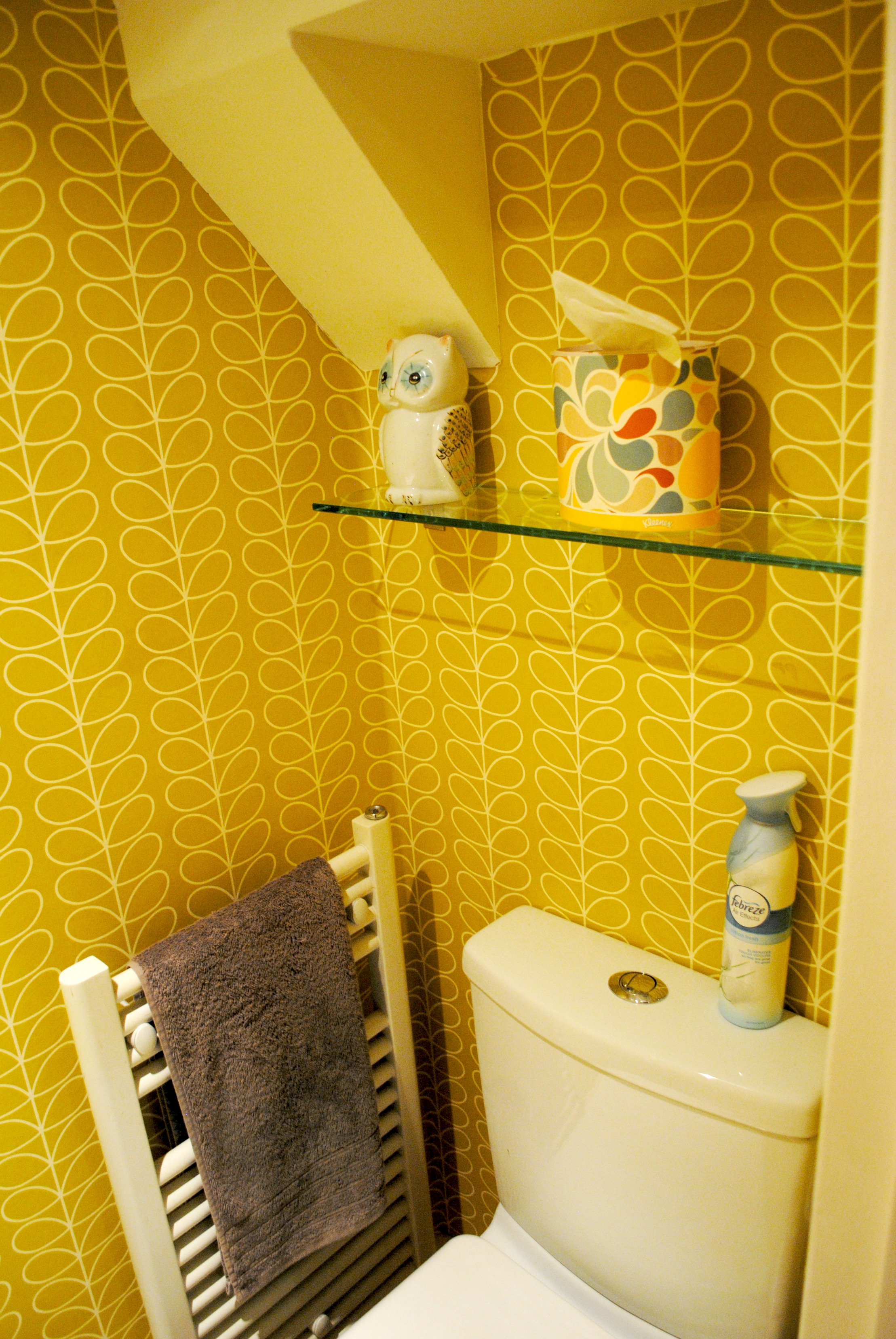 Orla kiely linear stem wallpaper - Enter Orla Kiely We Chose Her Wallpaper Linear Stem In Yellow To Perk Up Our Toilet At 52 A Roll It S Not Cheap But For Such A Small Space We Only