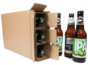 shipping box for three beer bottles