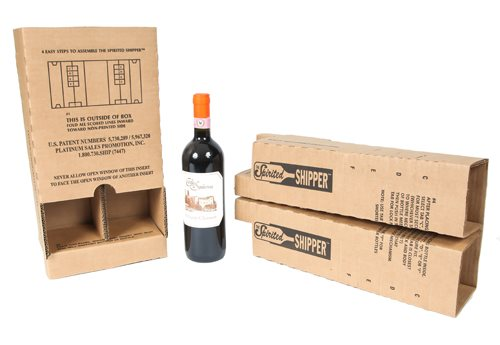 Two bottle wine insert from Spirited Shipper from two angles next to a bottle of wine