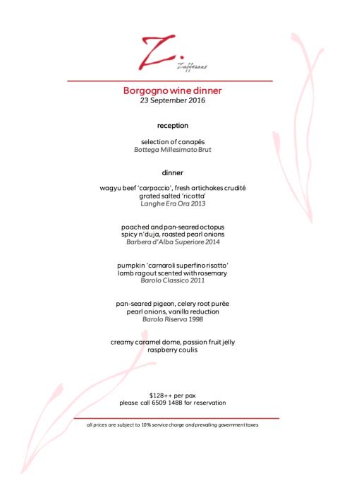 borgogno wine dinner zafferano 230916
