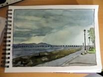 Tay Rail Bridge in Pen and Watercolour