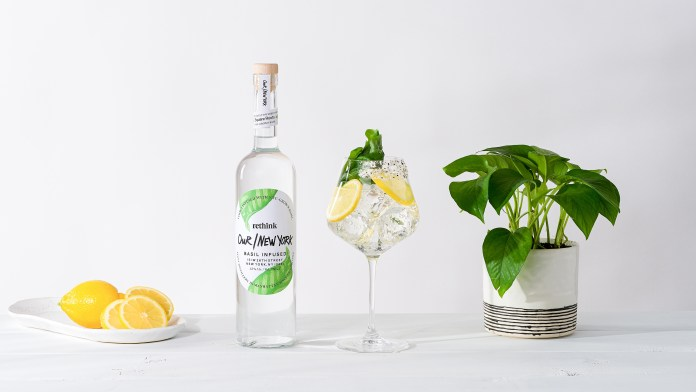Our/New York Basil Vodka and Soda