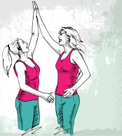 sketch-of-happy-young-women-vector-illustration_zkdRaZO__L