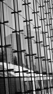 B&W shot to enhance the architectural pattern of the fins and panels