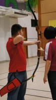 Right-handed bow: Left hand holds the bow while right right pulls the string