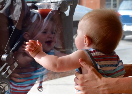 Colt discovering his own reflection