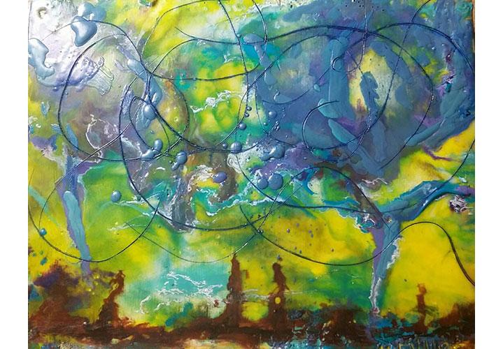"Storm by Dawn Miller - encaustic on wood panel, 8""x10"""