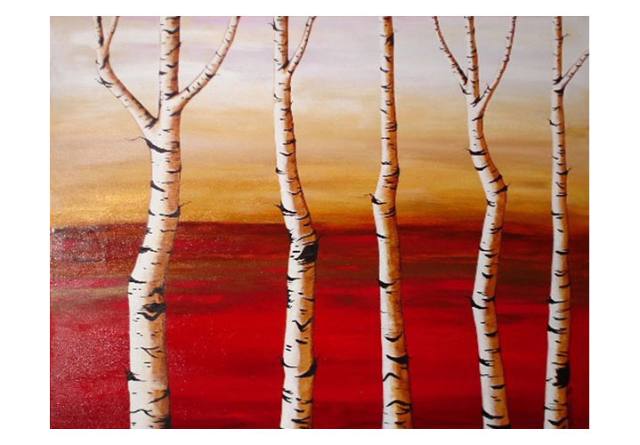 "Birch Trees 5 by Dawn Miller - acrylic on canvas 30""x40"""