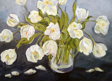 White Tulips by Judy Hopkins