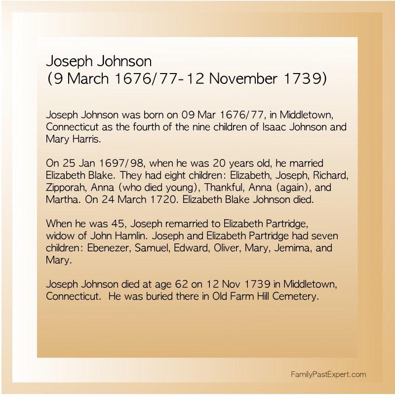 Joseph Johnson (9 March - 12 November 1677-1739)