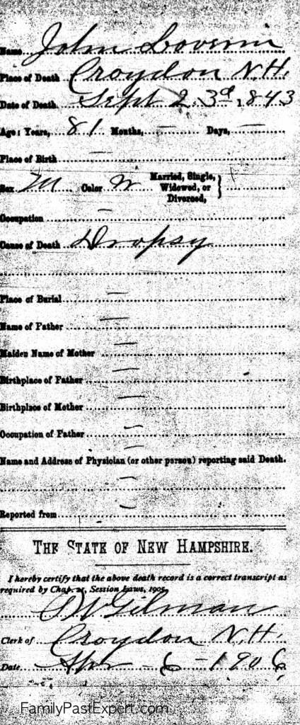John Loverin, death record