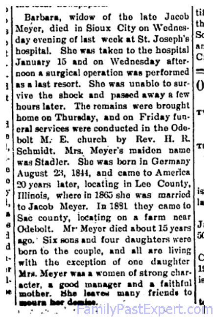 Obituary of Barbara Meyer, Odebolt Chronicle , 28 Jan 1904.
