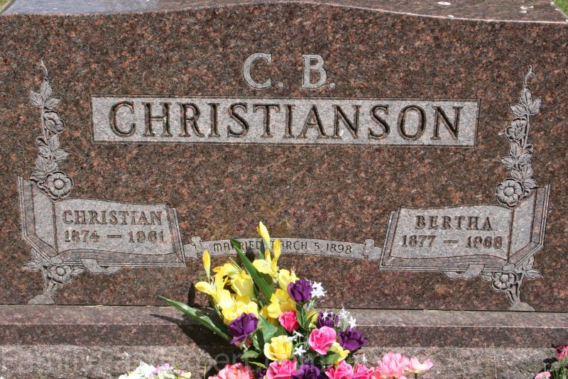 C.B. and Bertha Christianson, grave at Red Oak Grove Lutheran Cemetery.